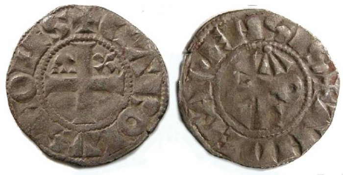 Ancient Coins - France Feudal. Anjou. Charles I, AD 1246 to 1285. Silver denier.