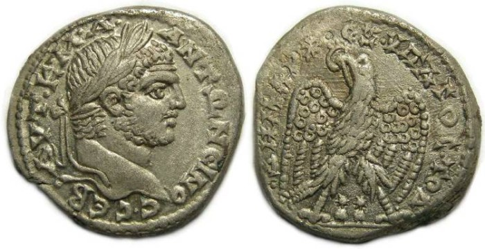 Ancient Coins - Caracalla, AD 198-217, Billon tetradrachm from Akko Ptolemais.