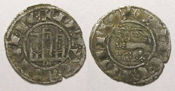 Ancient Coins - Spain, Castile & Leon.  Fernando IV, AD 1295-1312.  Billon denaro.