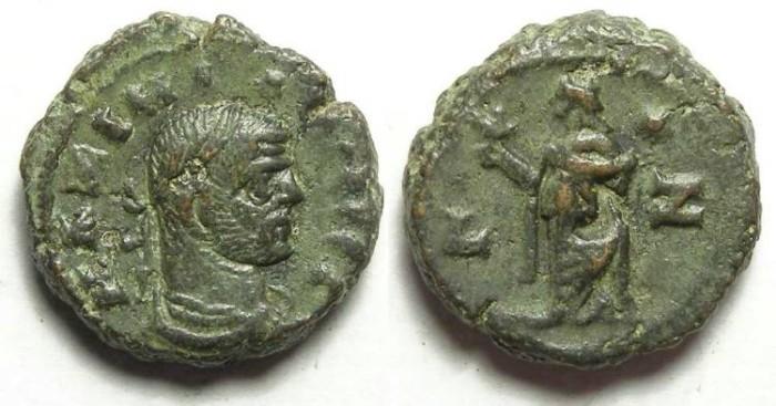 Ancient Coins - Alexandria, Maximianus, AD 286 to 305, Yr-6 potin tetradrachm. 18.2 mm.