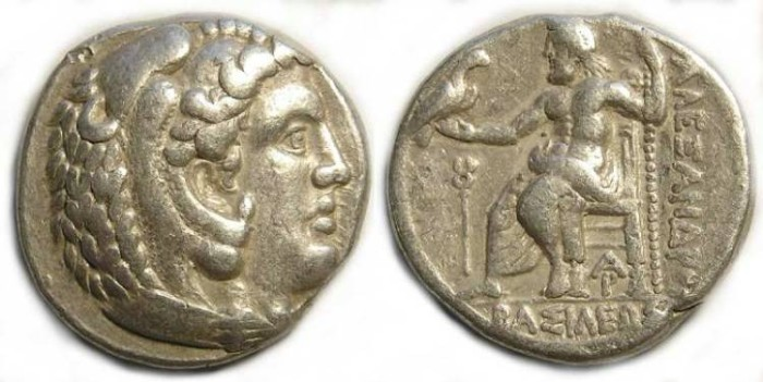 Ancient Coins - Macedonian Kingdom, Alexander the Great, 336 to 323 BC. Silver tetradrachm. Lifetime issue.