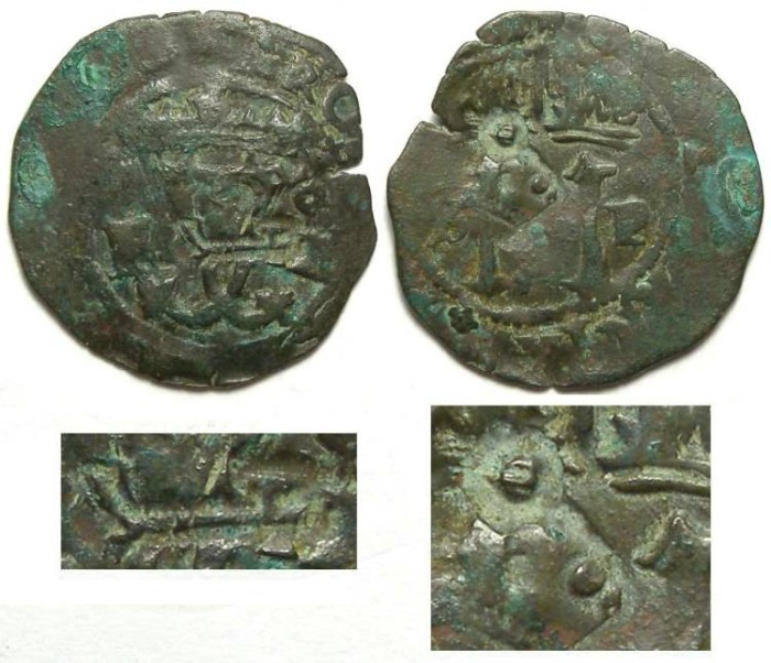 Ancient Coins - Spanish Colonial. Santa Domingo. ca. AD 1540's to 1550's. AE 4 maravedes. First Coin of the Caribbean. Countermarked with an anchor for Jamaica and a key of uncertain meaning.