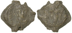 World Coins - Byzantine. Justinian I, AD 527 to 565. Lead seal impression.