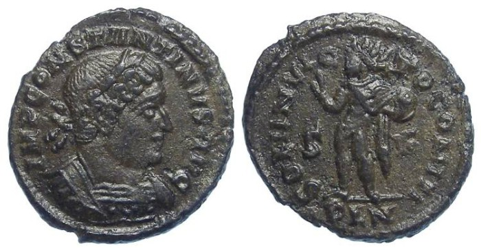 Ancient Coins - Constantine the Great, AD 307 to 337. AE 3 (reduced follis). LONDON MINT.