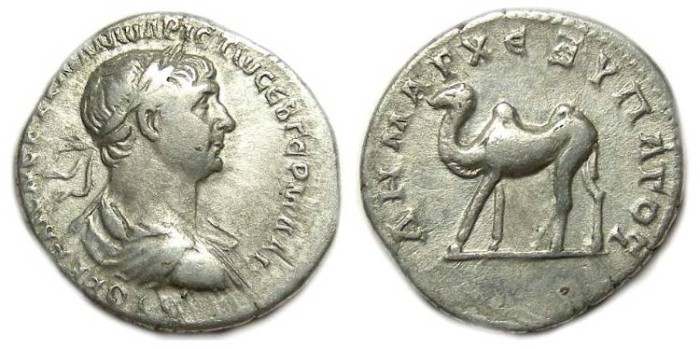 Ancient Coins - Trajan, AD 98 to 117. Silver drachm from Bostra.  5 legged camel.