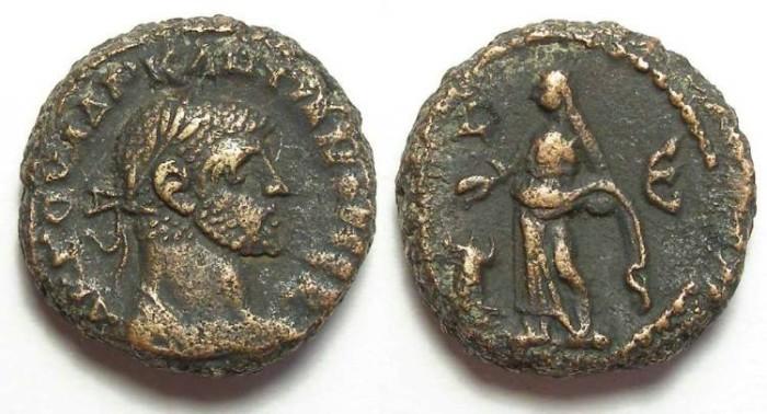 Ancient Coins - Alexandria, Diocletian, AD 284 to 305, Yr-5 potin tetradrachm. 17.5 mm.