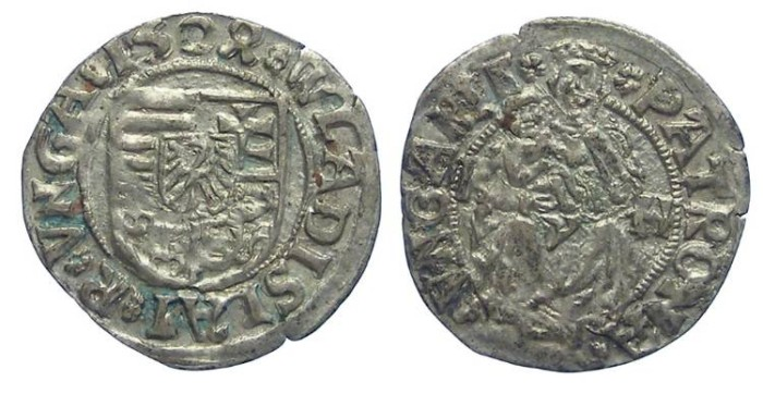 Ancient Coins - Hungary. Wladislaus II. 1490 to 1516. Silver denar. Dated 1504.