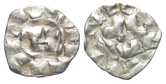 Ancient Coins - ITALY. Lucca. Henry III to V, AD 1035 to 1125. AR denaro. (possibly Crusader issue).