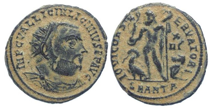 Ancient Coins - Licinius I, AD 308-324. Bronze reduced follis (or AE 3).