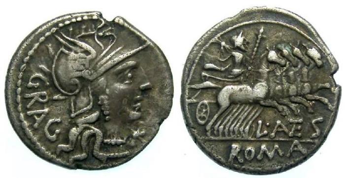 Ancient Coins - L. Antestius Gragulus. ca. 136 BC. Silver denarius.