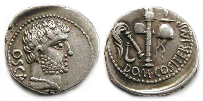 Ancient Coins - Domitius Calvinus.  39 to 36 BC.  Silver denarius