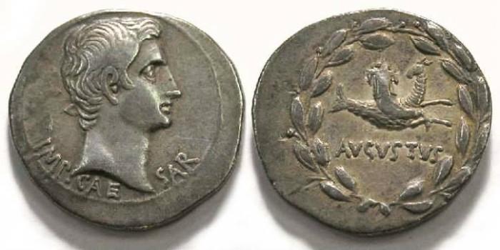 Ancient Coins - Augustus, 27 BC - 14 AD.  Silver Cistophorus.