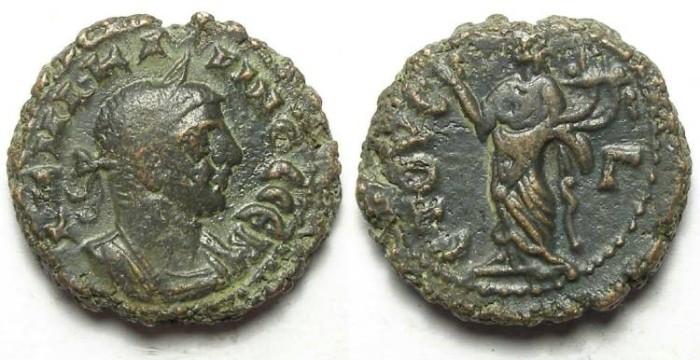Ancient Coins - Alexandria, Carinus, AD 283 to 285, Yr-3 potin tetradrachm. 18 mm.