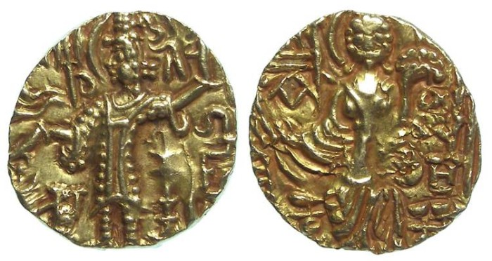 Ancient Coins - India. Kushan.Gadahara type. Gold stater. ca. 360 to 375 AD.