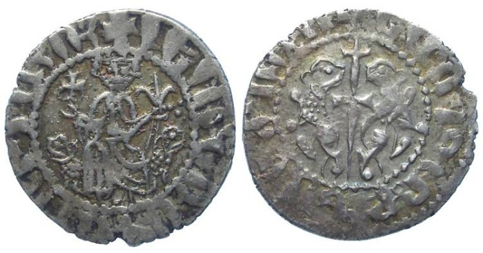 Ancient Coins - Armenia, Levon I, AD 1198 to 1218. Silver Tram.