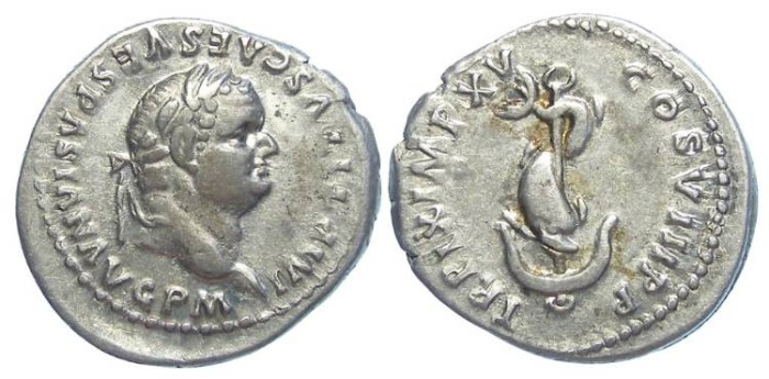 Ancient Coins - Titus as Augustus, AD 79 to 81. Silver denarius.