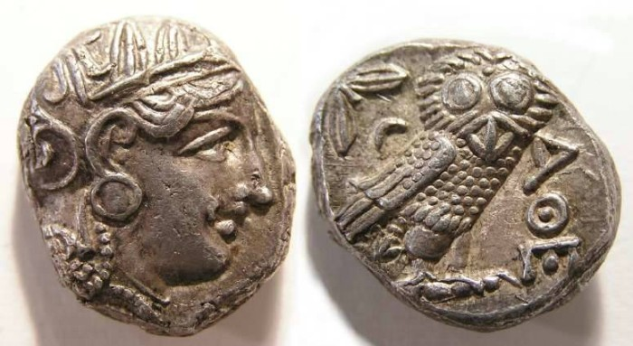 Ancient Coins - Athens. ca. 393 to 300 BC. Tetradrachm.