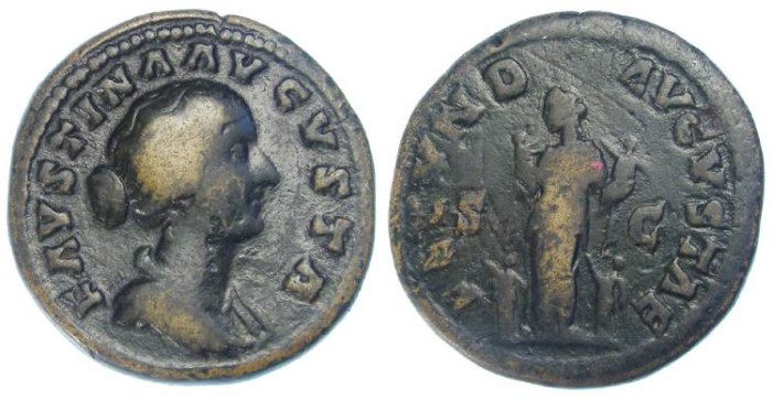 Ancient Coins - Faustina Jr. under Marcus Aurelius.  AD 161 to 176.  AE depondius.