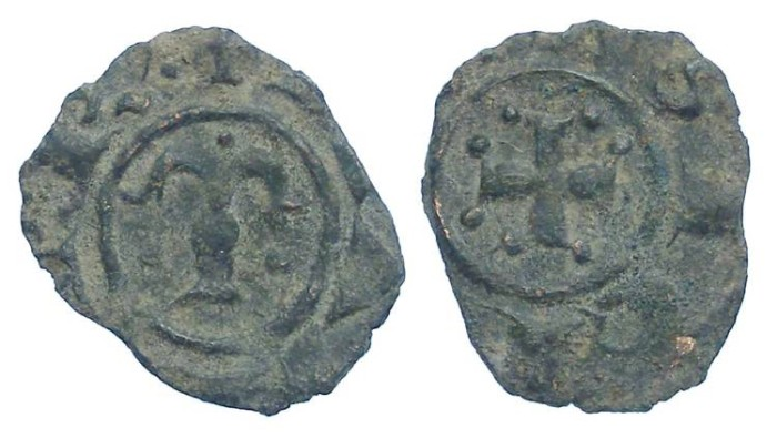 Ancient Coins - Italy. Kingdom of Sicily. Manfred von Hohenstaufen, 1258-1266. Billon Denaro.