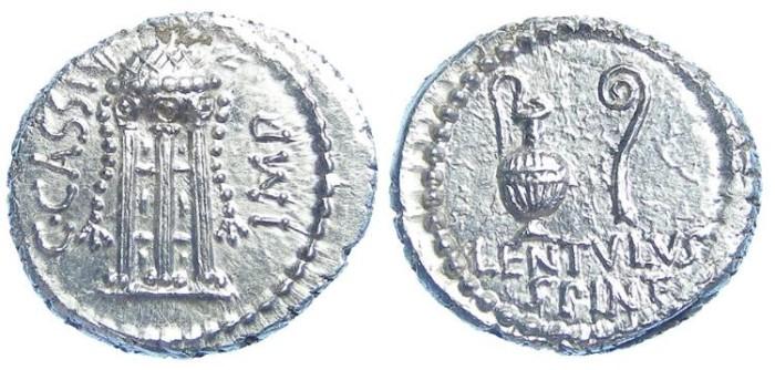 Ancient Coins - Roman Imperatorial. C. Cassius Longinus. 43 to 42 BC. Silver denarius