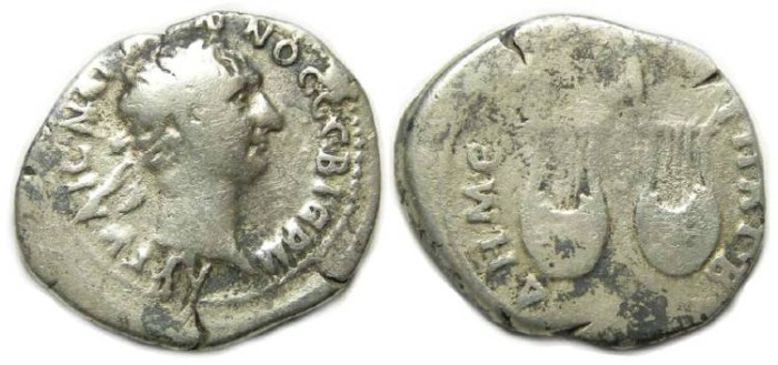 Ancient Coins - Trajan, AD 98 to 117. Silver drachm of Lycia.
