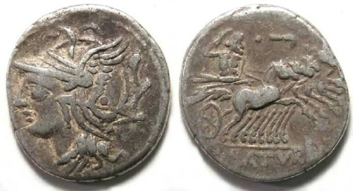 Ancient Coins - Lucius Appuleius Saturninus. ca. 104 BC. Silver denarius.