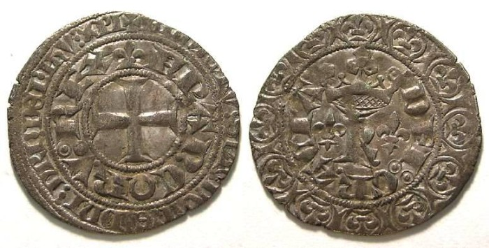 Ancient Coins - France, Royal.  Charles V, AD 1364 to 1380.  Silver Blanc au K.