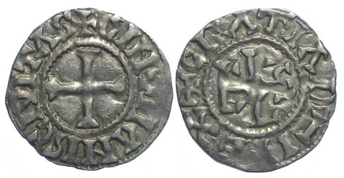 Ancient Coins - French Feudal. Carolingian Immobilized issue of Charles the Bald for Maine, issued by Hugh II, ca. AD 970.