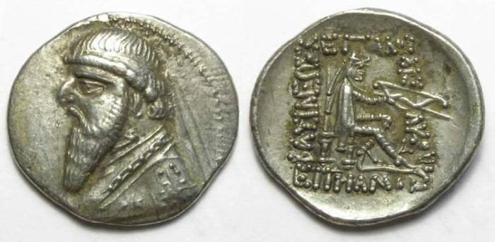Ancient Coins - Parthia, Mithradates II, 123-88 BC. Silver drachm.