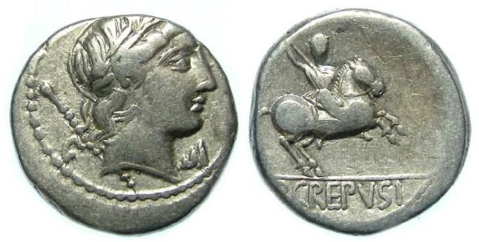 Ancient Coins - Roman Republic. P. Crepusius. Silver denarius. ca. 82 BC.