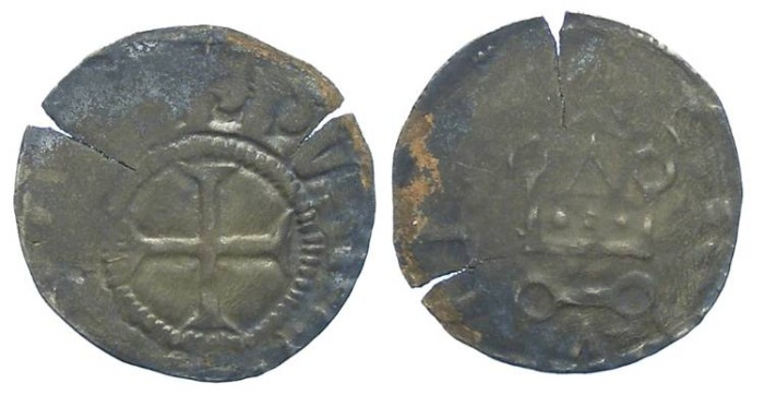 World Coins - France. Royal. Philip IV, AD 1285 to 1314. Billon obol.  Possibly contemporary counterfeit.