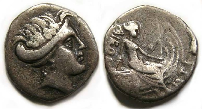 Ancient Coins - Macedonian Imitative Histiaia type silver tetrobol.
