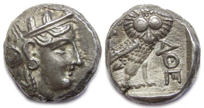 Ancient Coins - Athens. ca. 393 to 300 BC. Silver Tetradrachm. Imitative style.