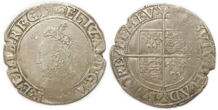 Ancient Coins - English, Elizabeth I, Silver shilling. Undated (ca. AD 1595 to 1598).