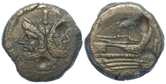 Ancient Coins - Roman Republic. Anonymous struck AS. ca. 169 to 157  BC.  Donkey on ship.