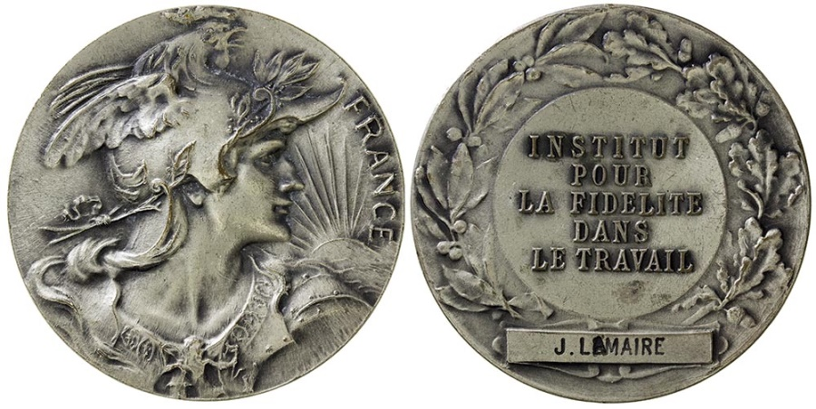 World Coins - FRANCE.  The Institute for Loyalty in the Work award medal.  Silver plate.