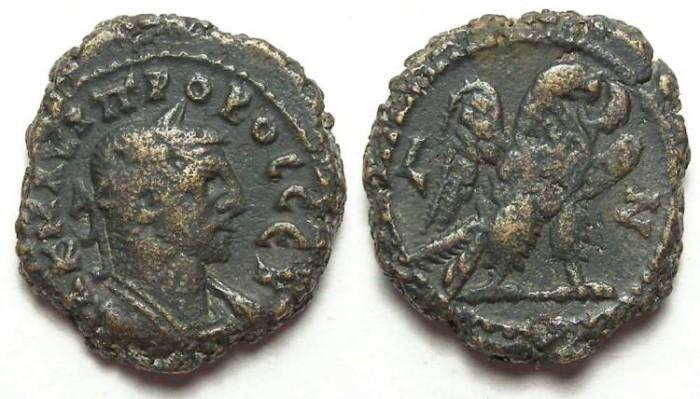 Ancient Coins - Alexandria, Probus, AD 276 to 282, Yr-7  potin tetradrachm. 19 mm.
