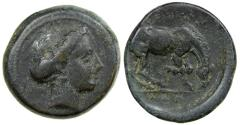 Ancient Coins - LARISSA IN THESSALY. CA. 350 BC.  AE 18.