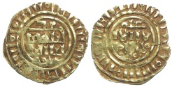 World Coins - Crusaders gold Dinar, imitating Islamic gold. Third phase, after AD 1148.