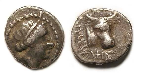 Ancient Coins - Knidos in Caria.  Silver diobol. 390 to 330 BC.