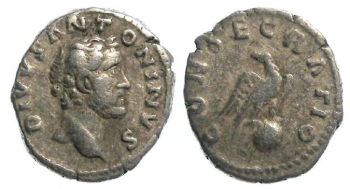 Ancient Coins - Divus Antoninus Pius, Silver denarius. AD 161