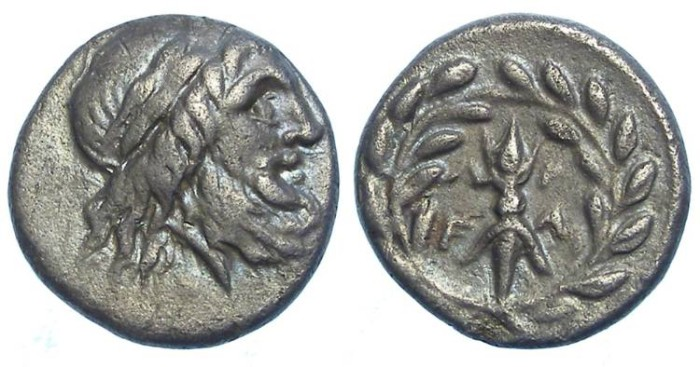 Ancient Coins - Elis. Silver Drachm, ca. 245 to 210 BC.  Time of the 126th to 130th Olympic games.