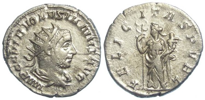 Ancient Coins - Volusian, AD 251-253. Silver antoninianus.