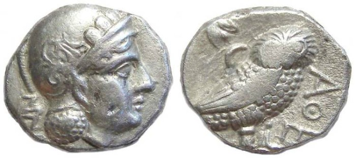 Ancient Coins - Bactria. Stamenes as Satrap of Babylon.  ca. 328 to 323 BC.  Silver didrachm.