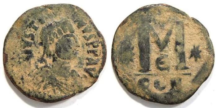 Ancient Coins - Byzantine. Justin I. AD 518 to 527. Bronze follis
