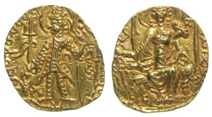 Ancient Coins - India, Kushan, Kings Vasu and Chhu, AD 260 to 300.  Gold stater.