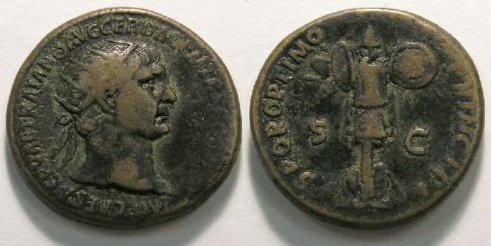 Ancient Coins - Trajan, AD 98 to 117, Bronze Dupondius.
