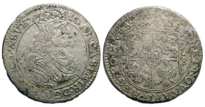 Ancient Coins - Poland. Johan Casimir.  1668.  Silver Tympf.