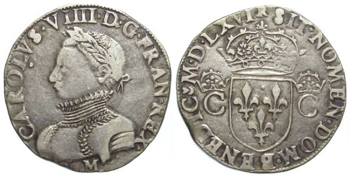 Ancient Coins - France. Charles IX, 1560 TO 1574.  Silver teston.  1566 Toulouse.