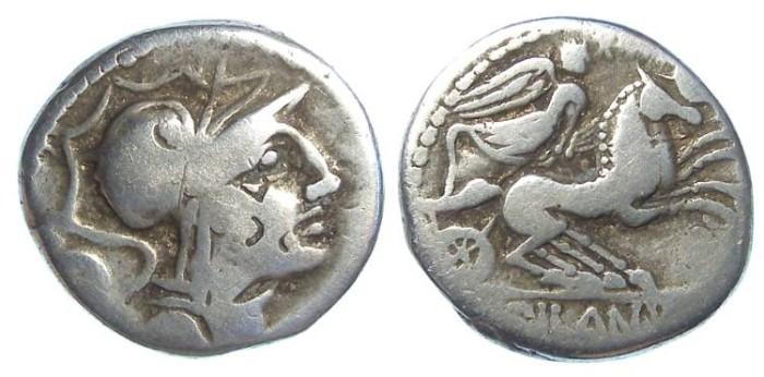 Ancient Coins - Roman Republic. D. Junius L.f. Silanus.  ca. 91 BC. Silver denarius.